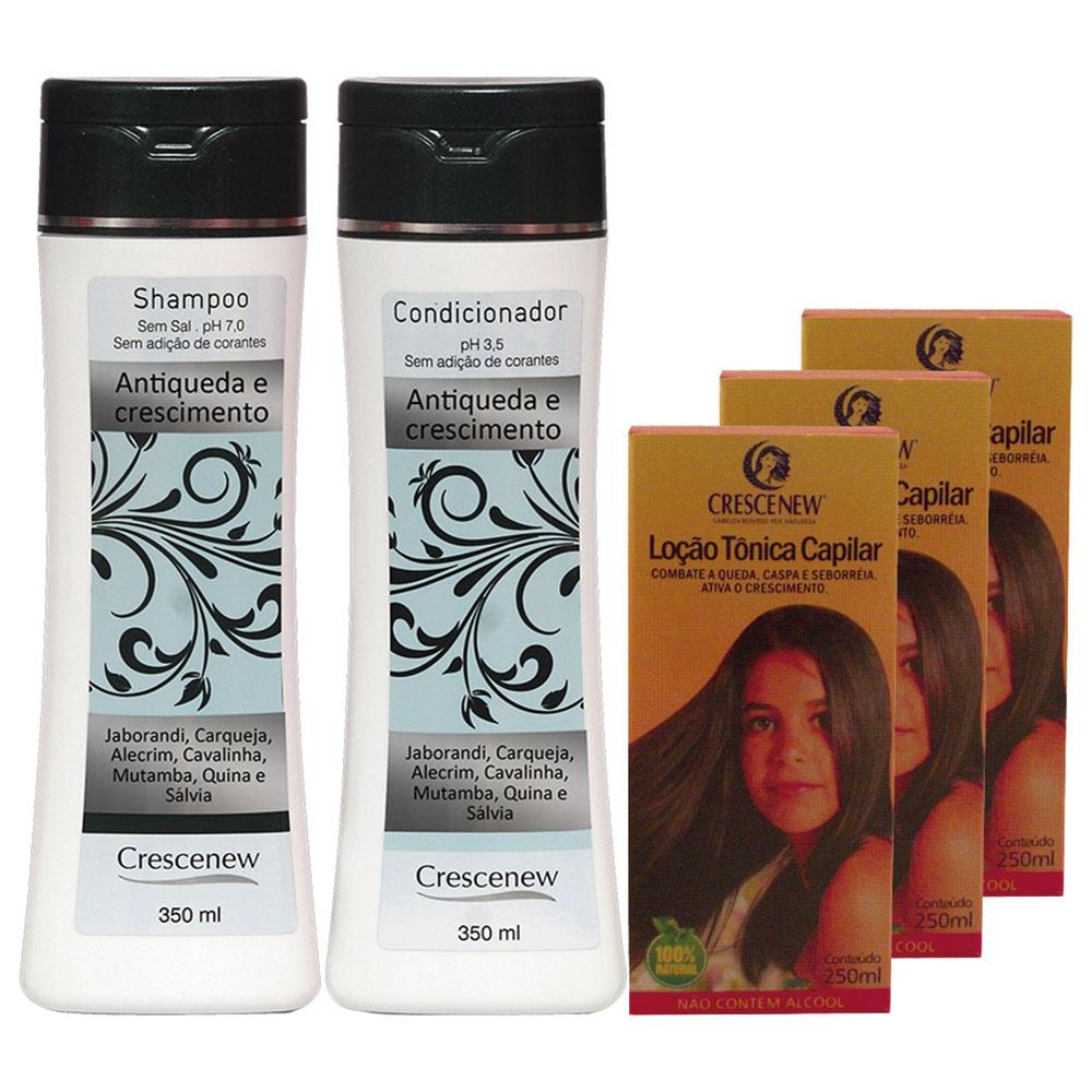 Kit com 1 shampoo, 1 condicionador e 3 loções queda cabelo e crescimento