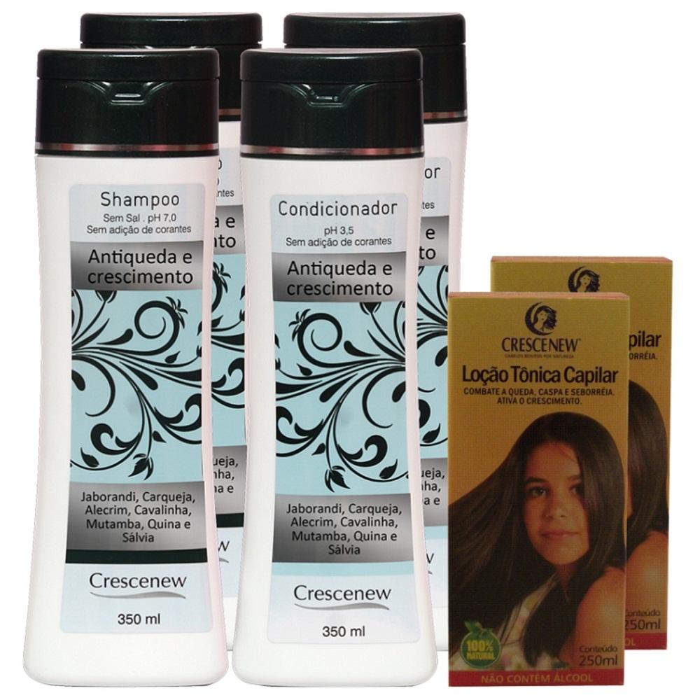 Kit com 2 shampoos, 2 condicionadores e 2 loções capilar queda de cabelo