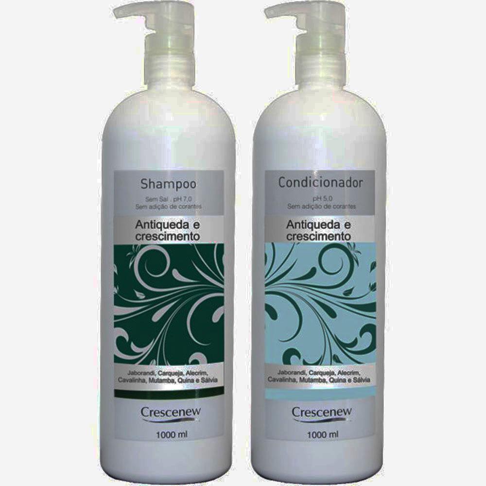 Kit com shampoo e condicionador queda de cabelo Crescenew 1 litro