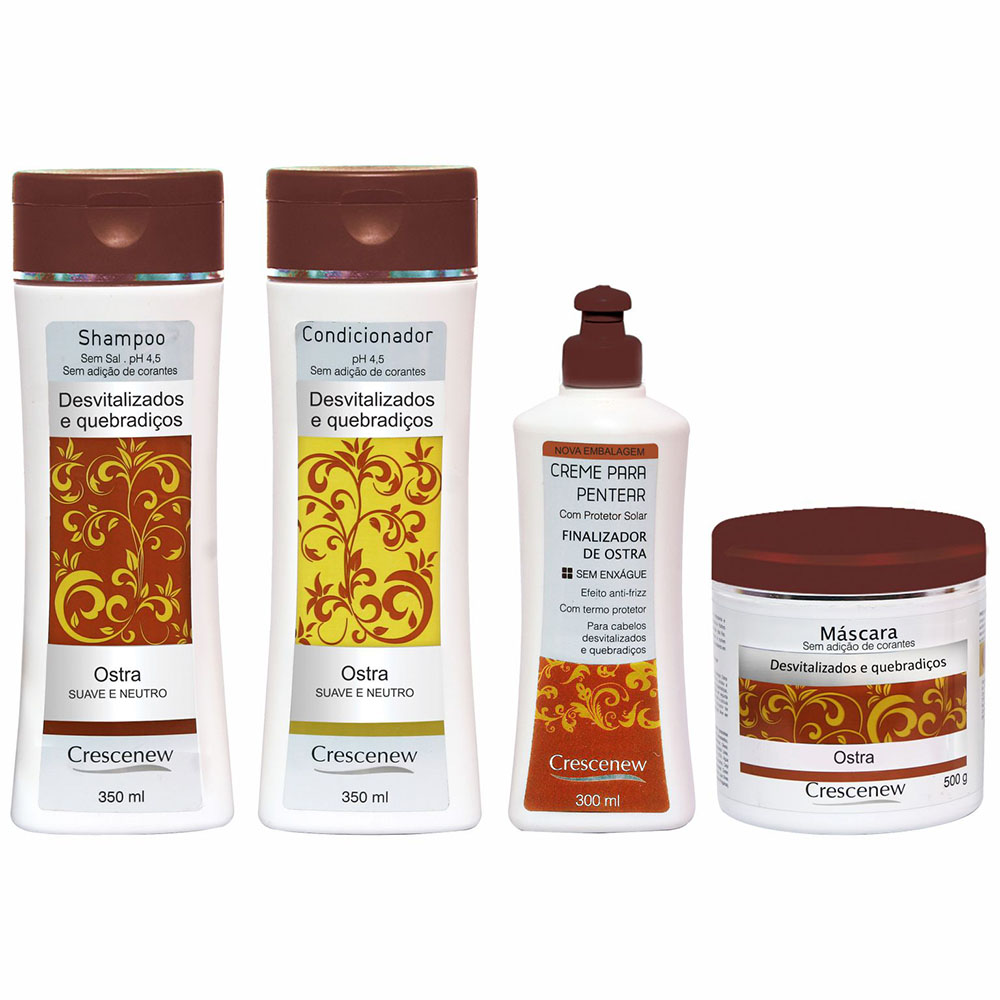 Kit shampoo, condicionador, creme de pentear e máscara hidratação ostras