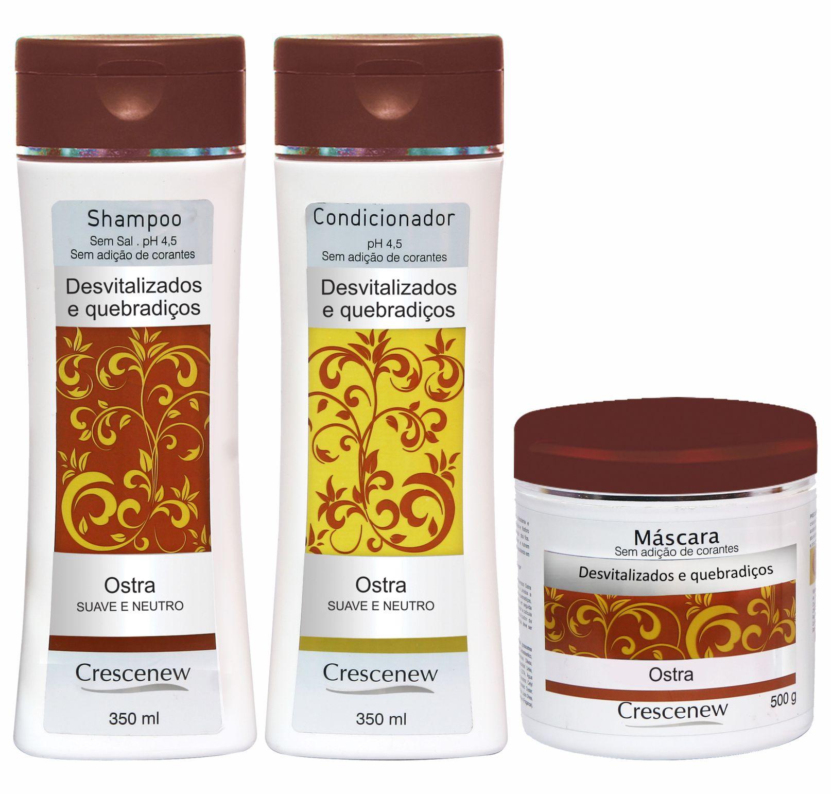 Shampoo, condicionador capilar e máscara de hidratação coquetel de ostras