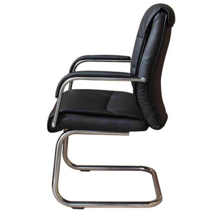 Cadeira Interlocutor em Couro PU PEL-107-1 Preta Pelegrin