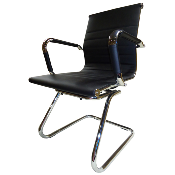 Cadeira Interlocutor em Couro PU PEL-1190V Preta Design Charles Eames