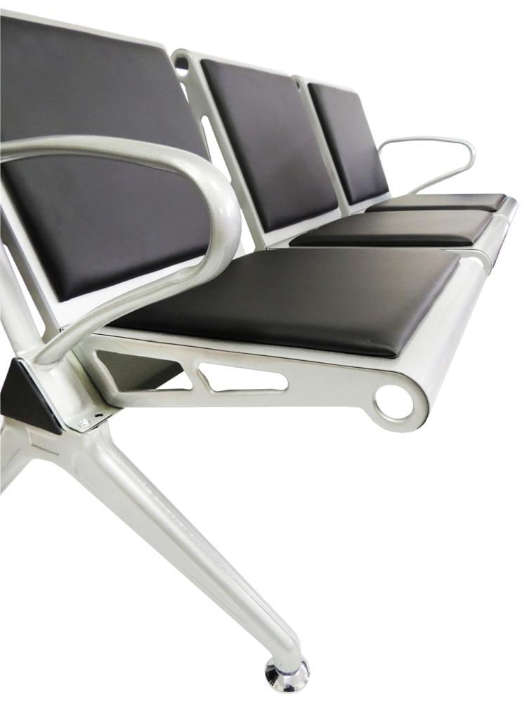 Cadeira Longarina Aeroporto Silver com Estofamento 3 Lugares