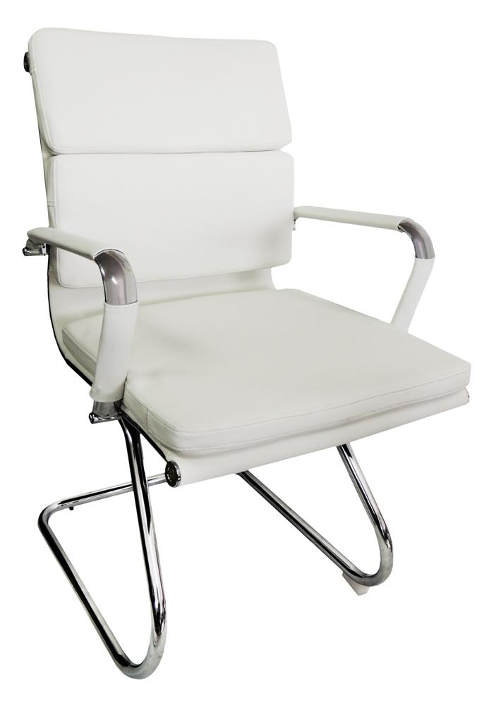 Cadeira Interlocutor Design Charles Eames em Couro PU Branca Pelegrin PEL-7089V