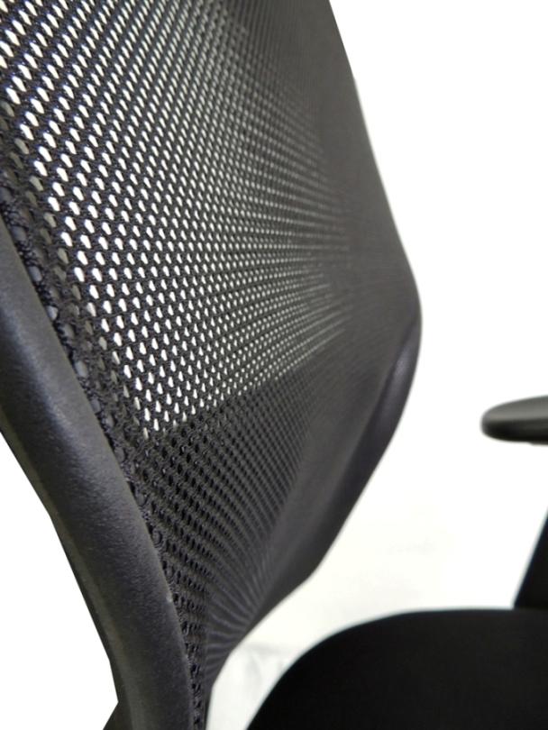 Cadeira Interlocutor em Tela Mesh ET-0037 Preta Com Apoio Lombar Ajustável