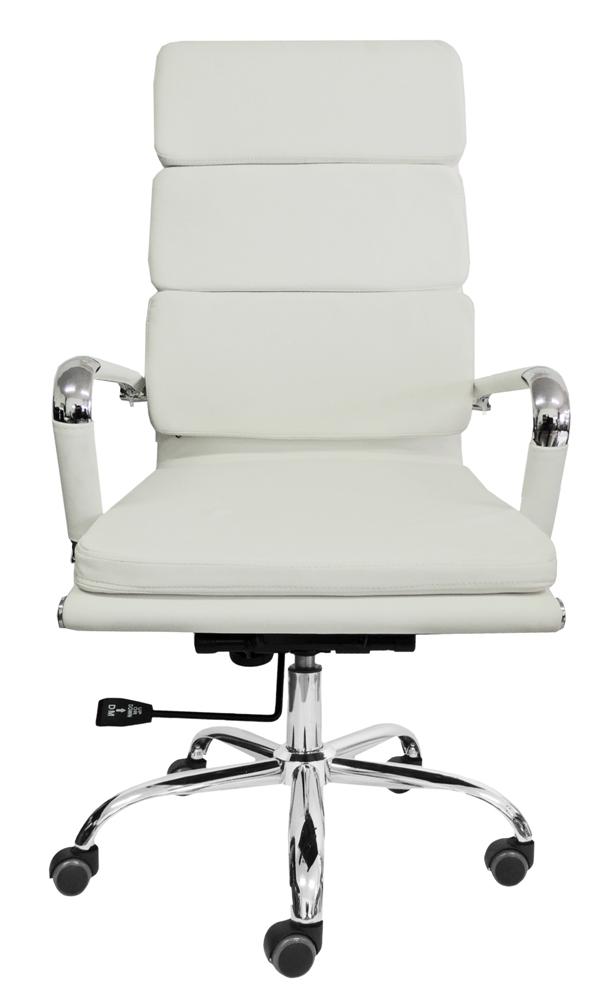 Cadeira Presidente Design Charles Eames em Couro PU Branca Pelegrin PEL-7089H3