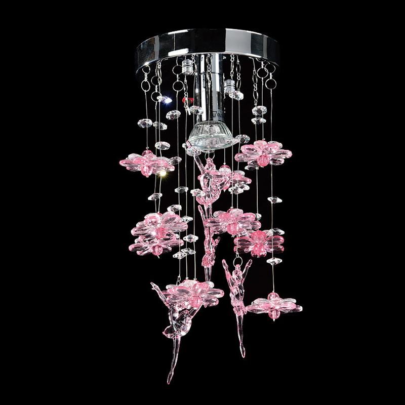 Lustre Ballerina com Adornos em Acrílico com Formato de Flores e Bailarinas - Cor Rosa