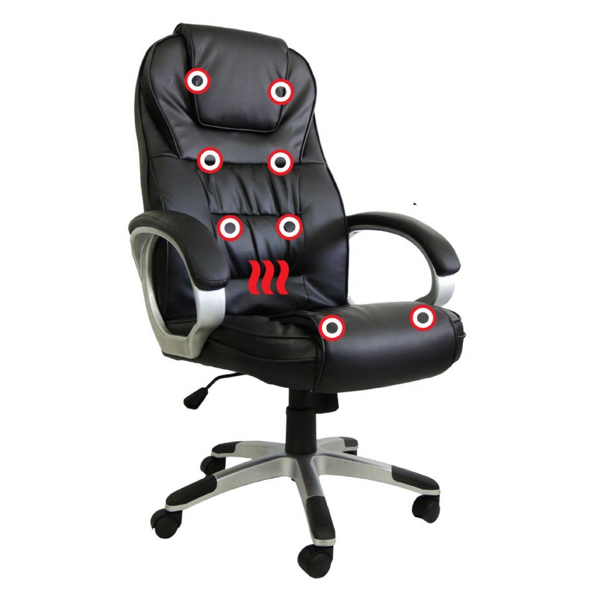 Cadeira Presidente em Couro PU PEL-C2652 Preta com Massagem e Aquecimento
