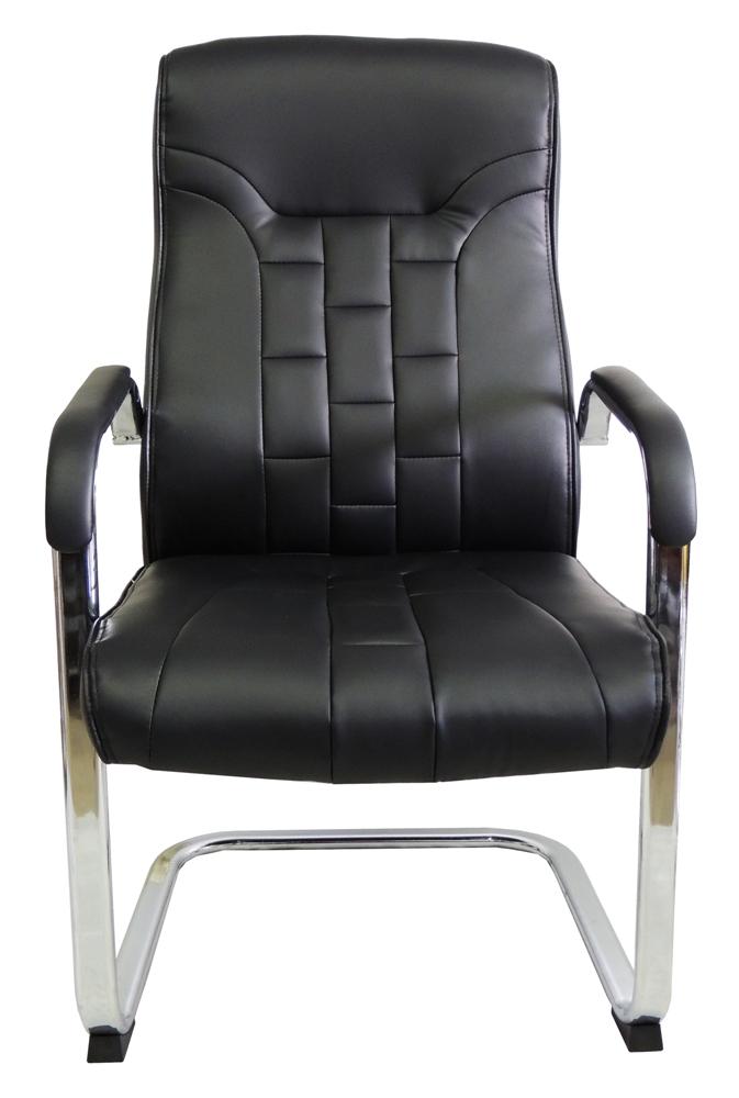 Cadeira Interlocutor em Couro PU PEL-C957V Preta
