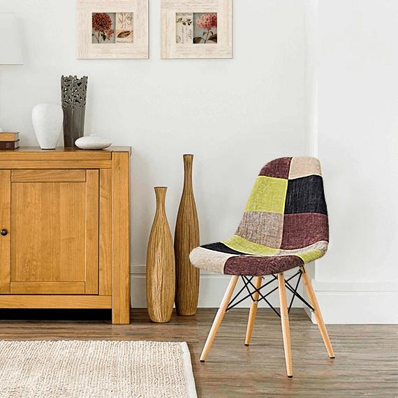 Cadeira em ABS FW-070F Patchwork com Design Charles Eames Dkr Eiffel