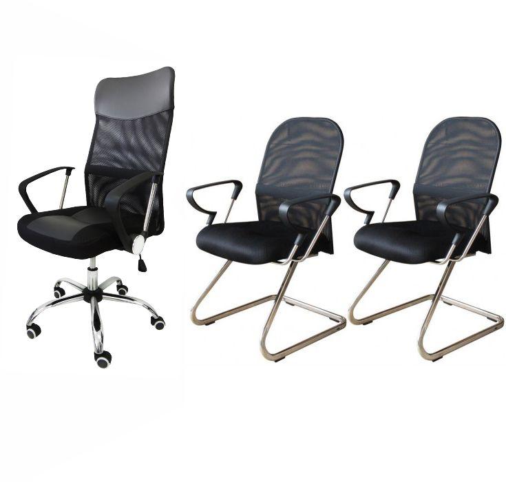 Conjunto com 1 Cadeira Presidente e 2 Cadeiras Interlocutores em Tela Mesh PEL-8009/PEL-8036 Pretas