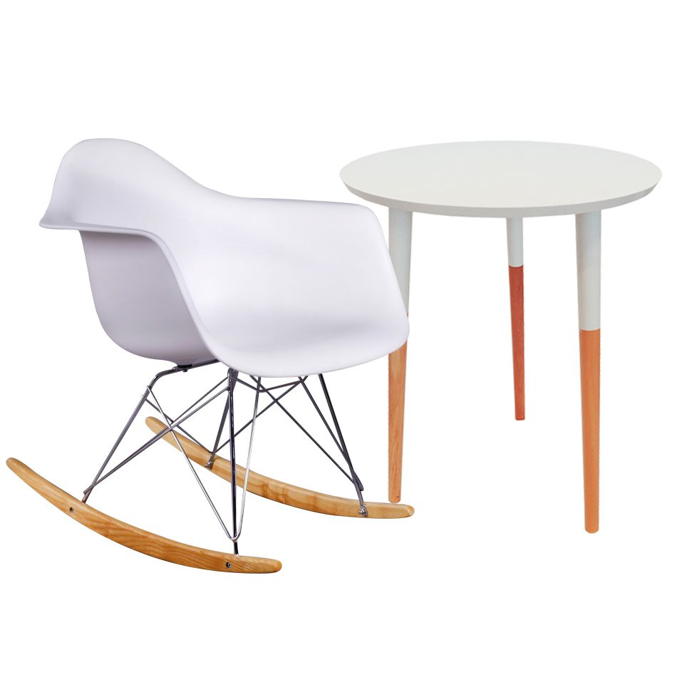 Conjunto Cadeira em ABS com Balanço PM-084 e Mesa Coffe Eiffel Wood