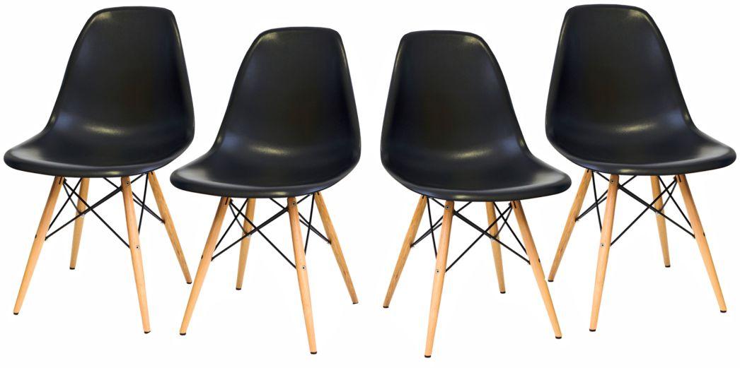 KIT Com 4 Cadeiras em ABS PW-071 Preto com Design Charles Eames Dkr Eiffel