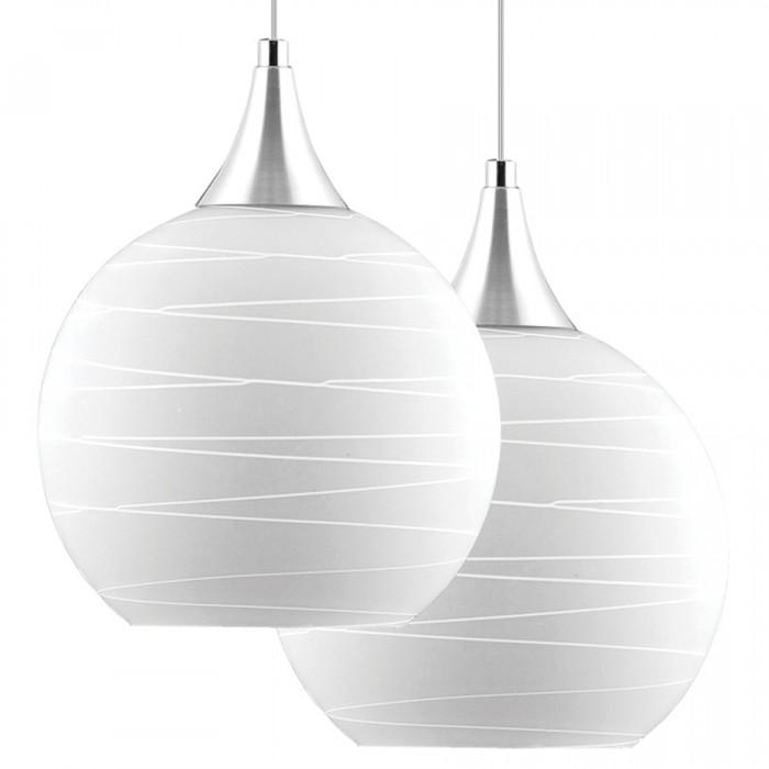 Lustre Double Ball Pelegrin PEL-018 Metal Vidro Branco