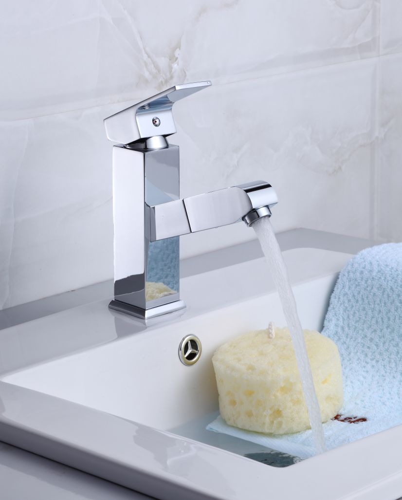 Torneira Retrátil Slim com Misturador Monocomando para Banheiro ou Lavabo P-042