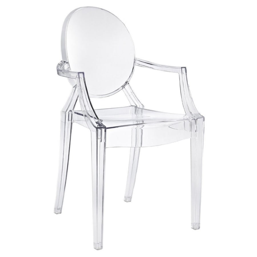 Cadeira Design Louis Ghost Pelegrin PEL-1752A Fixa com Braço - Acrílico Transparente
