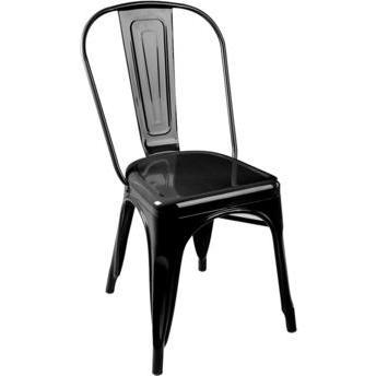 KIT 4 Cadeiras Design Tolix Metal Pelegrin PEL-1518 Cor Preta