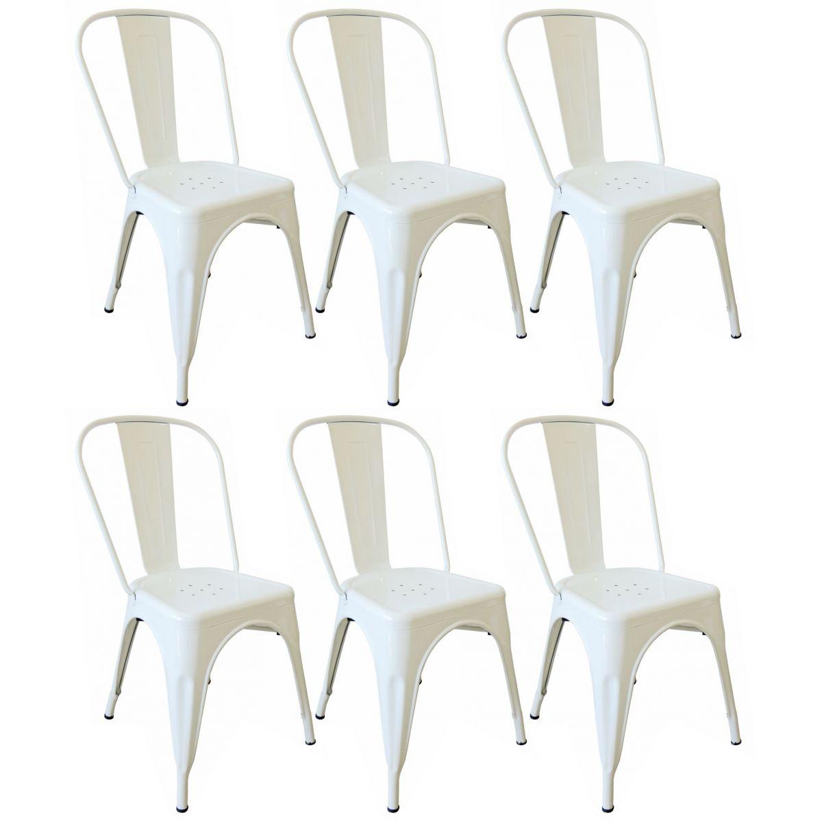 KIT 6 Cadeiras Design Tolix Metal Pelegrin PEL-1518 Cor Branca