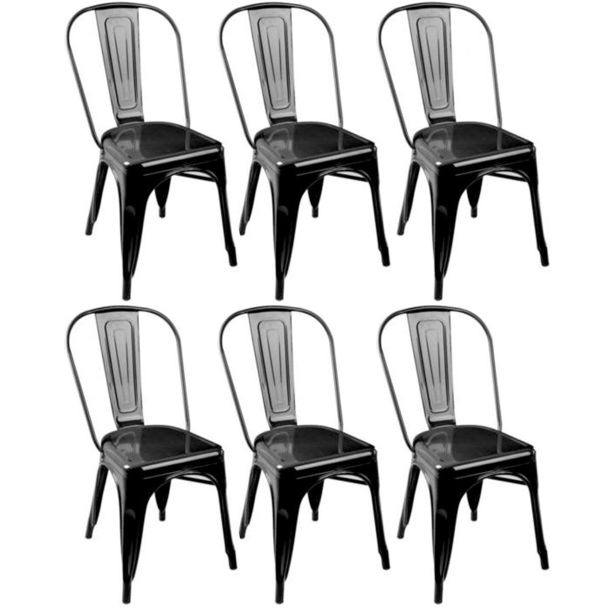 KIT 6 Cadeiras Design Tolix Metal Pelegrin PEL-1518 Cor Preta