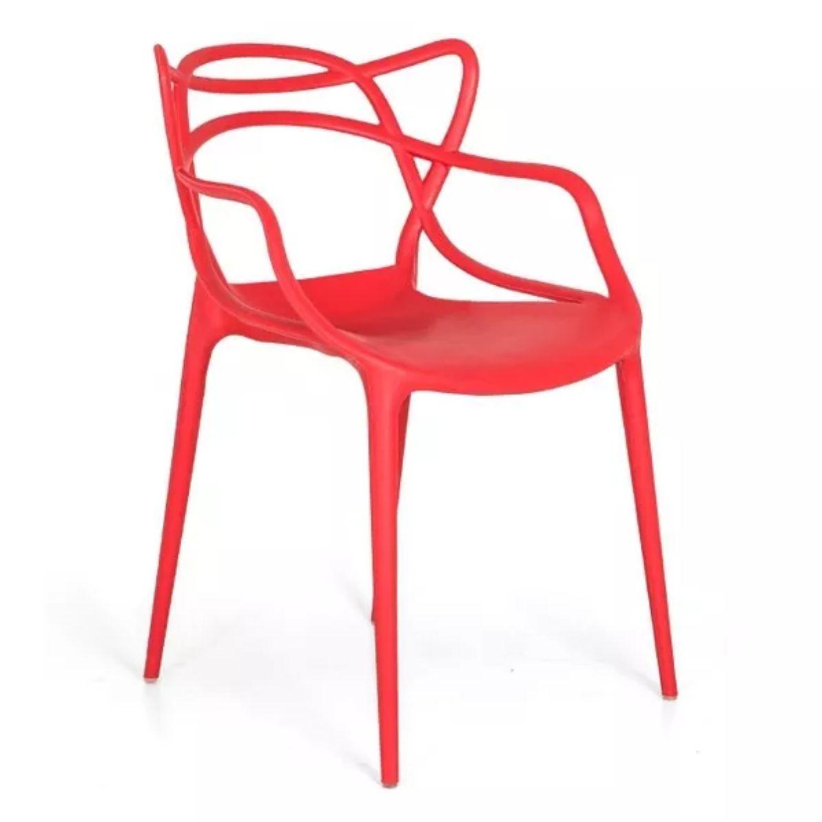 Kit 6 Cadeiras Design Allegra Pelegrin PEL-1737 Cor Vermelha