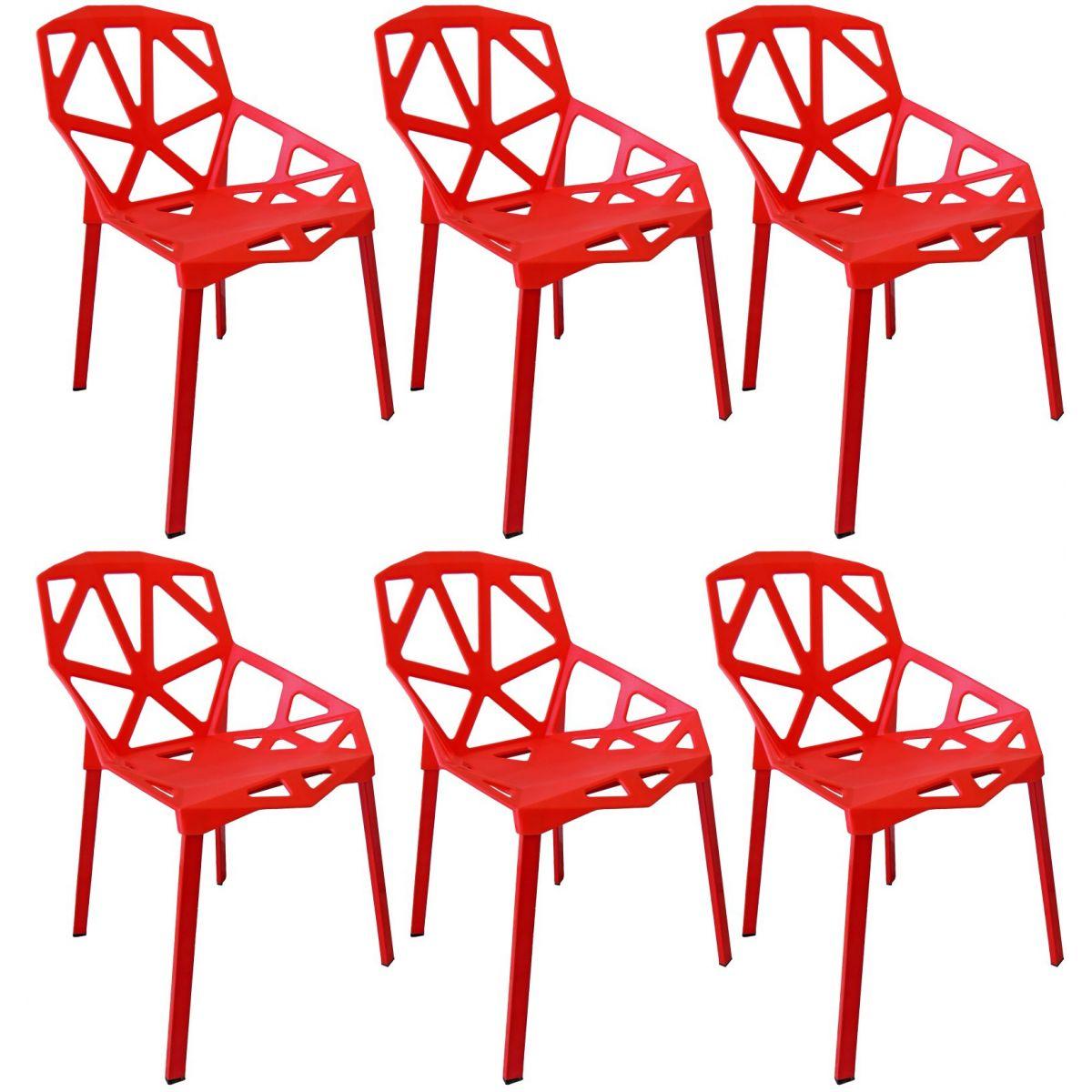 Kit 6 Cadeiras Design Penelope Chair One Pelegrin PEL-1335 Cor Vermelha
