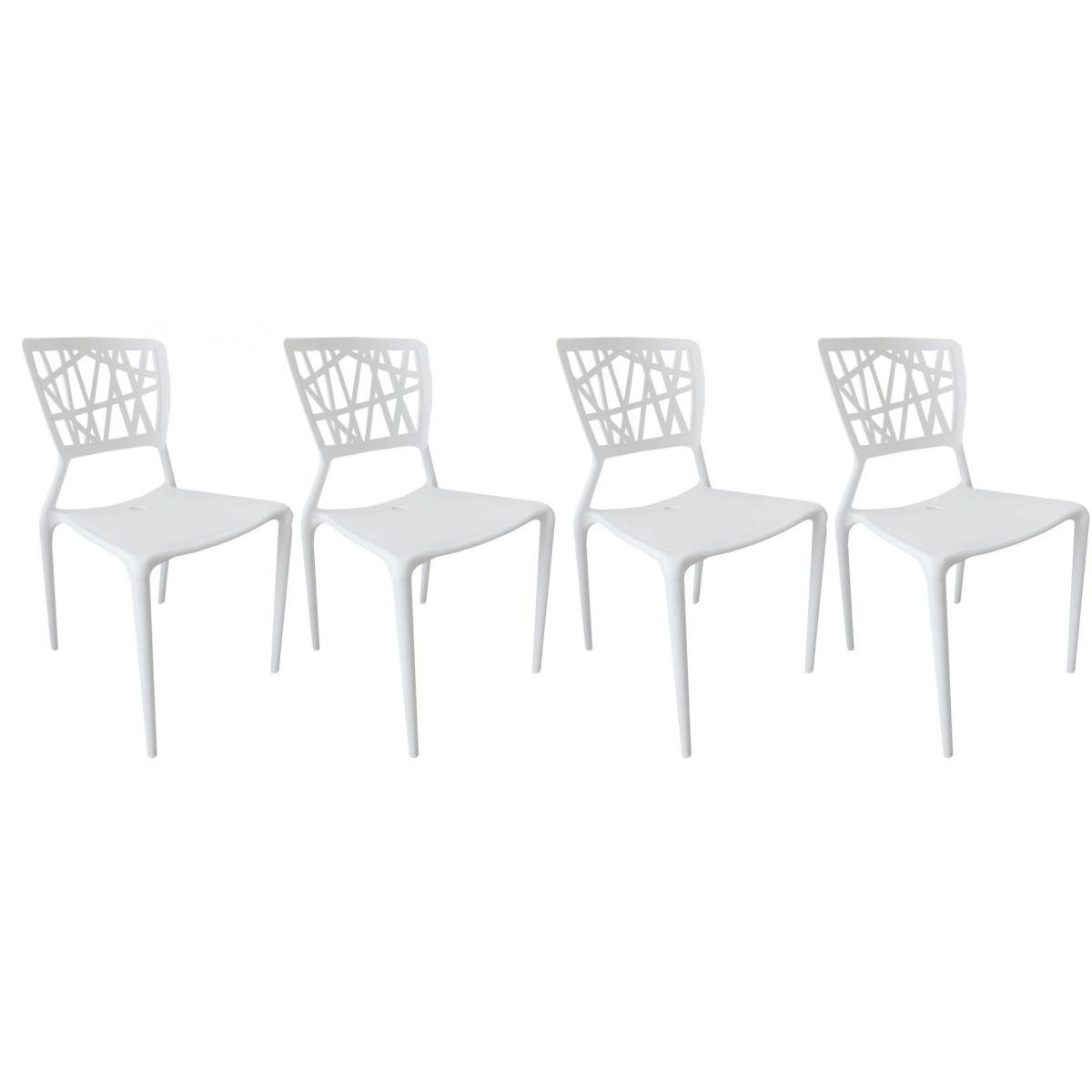 Kit 4 Cadeiras Design Melissa Pelegrin PEL 1193 Cor Branca