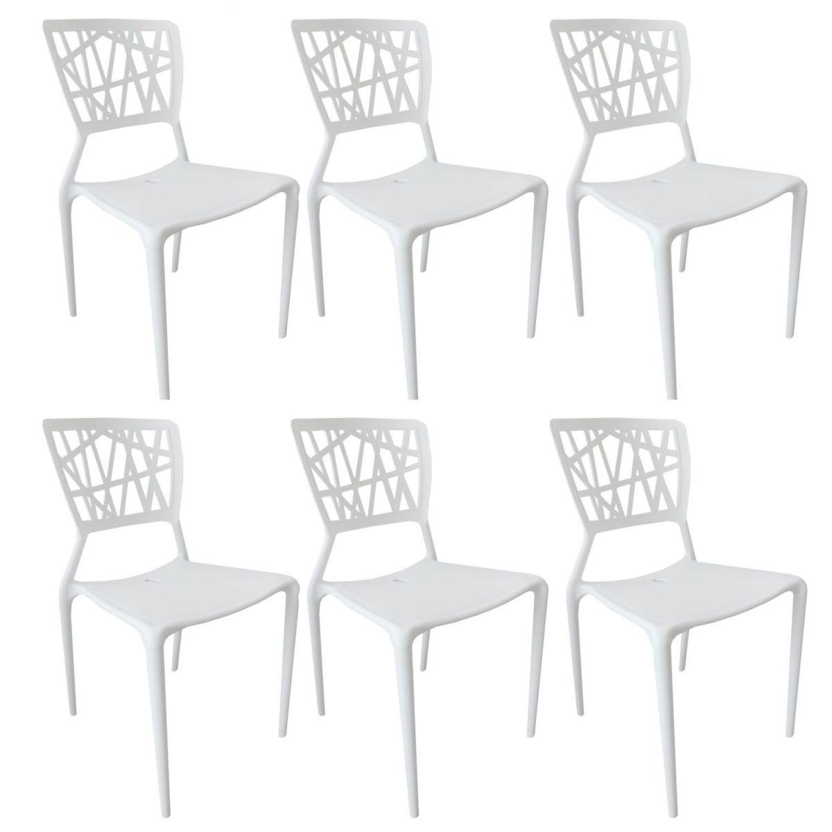 Kit 6 Cadeiras Design Melissa Pelegrin PEL 1193 Cor Branca