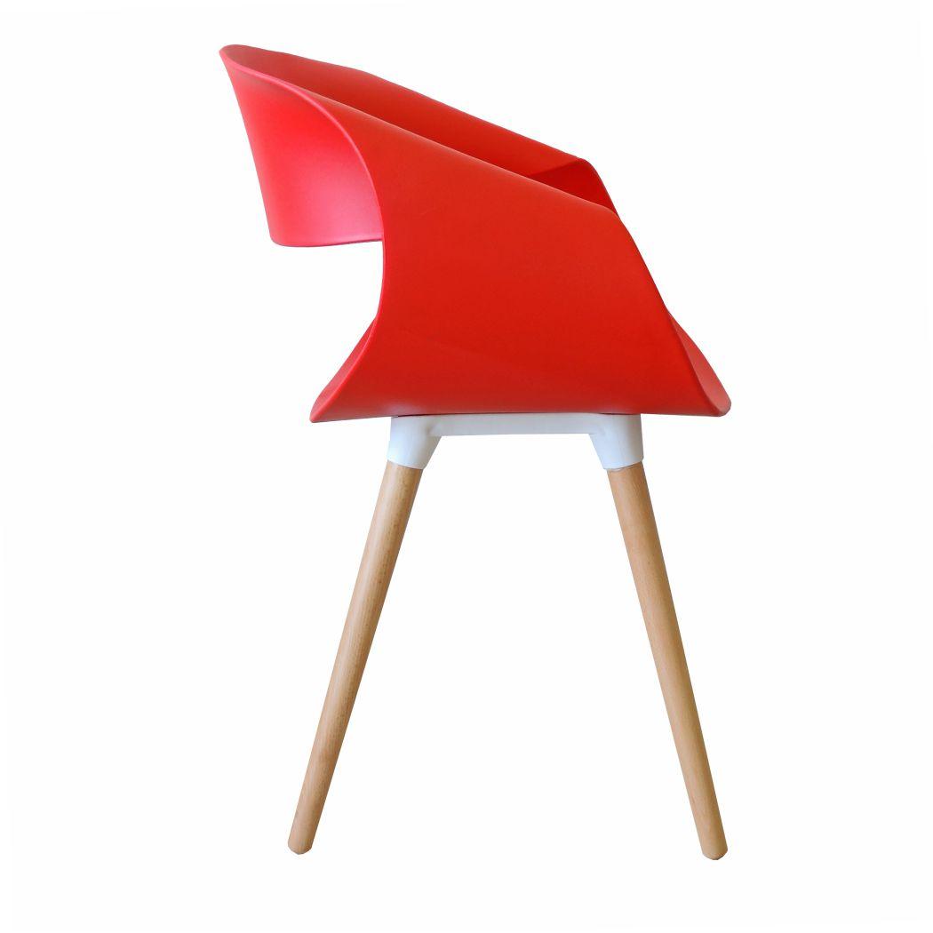 Kit 6 Poltronas Design Charles Eames Pelegrin PEL-191 Cor Vermelha