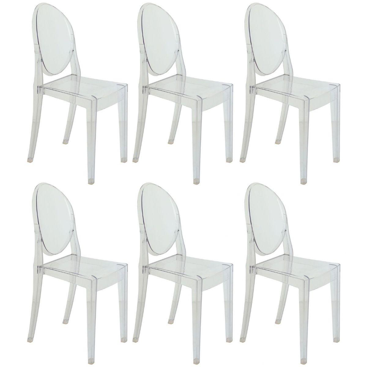 Kit 6 Cadeiras Design Victoria Ghost Pelegrin PEL-1752B Fixa - Acrílico Transparente