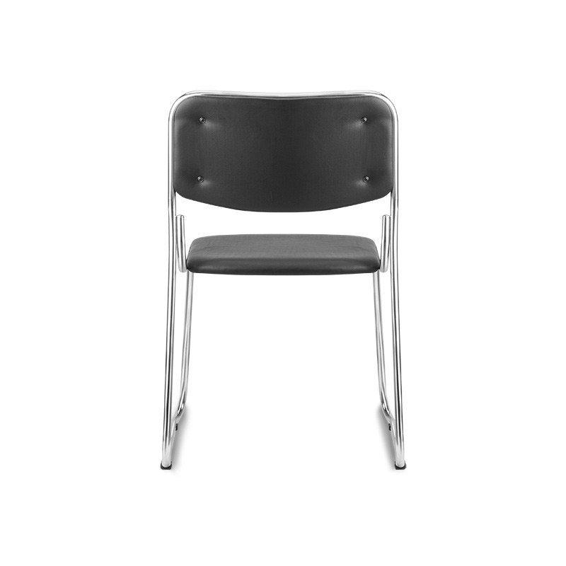 Kit com 5 Cadeiras Interlocutor Empilhável Pelegrin em Couro PU Preta Pel-1114