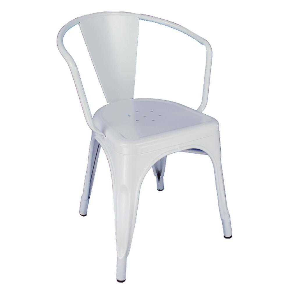 Cadeira Fixa Design Tolix com Braços Metal Pelegrin PEL-1708 Branca