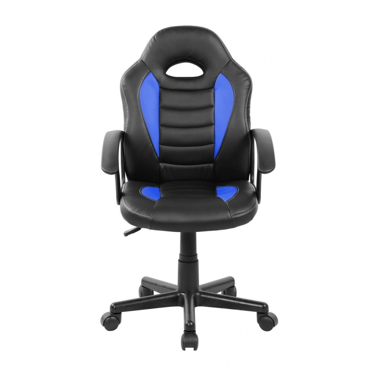 Cadeira Gamer Kids em Couro PU Preta com Azul Pelegrin PEL-9353