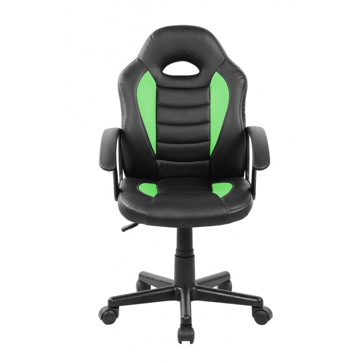 Cadeira Gamer Kids em Couro PU Preta com Verde Pelegrin PEL-9353