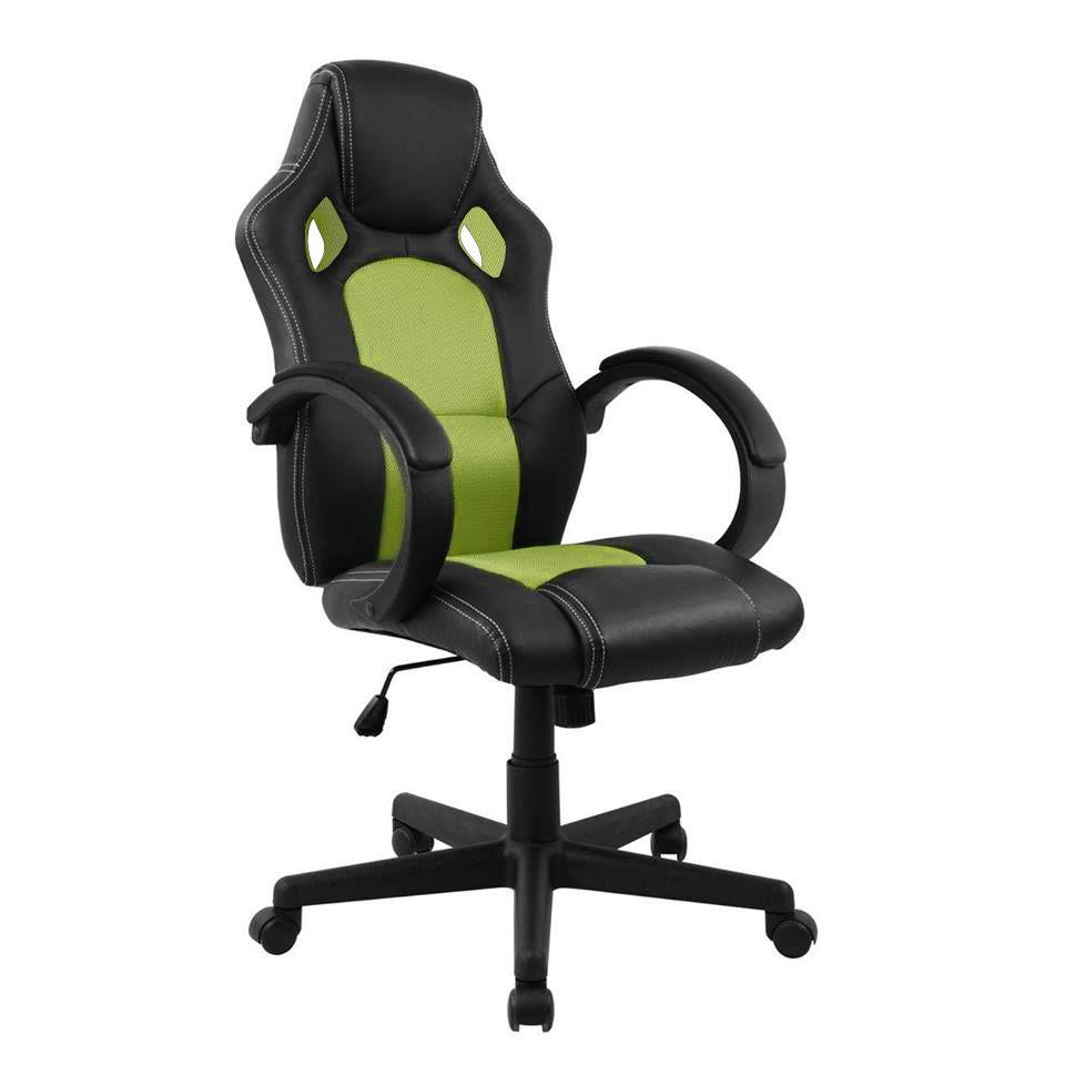 Cadeira Presidente Gamer em Couro PU Preta com Verde Pelegrin PEL – 3002