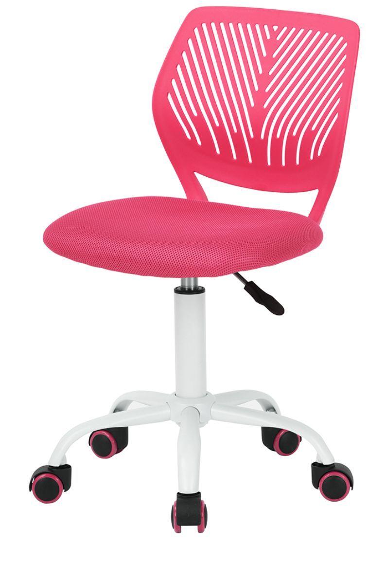 Cadeira Secretaria Kids Pelegrin PEL-3300 Tela Mesha Rosa e Branca