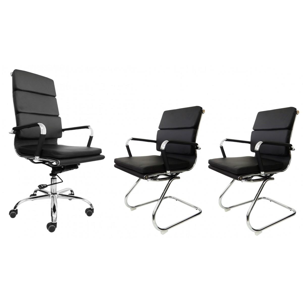Conjunto 1 Cadeira Presidente e 2 Interlocutores Design Charles Eames em Couro PU Preta Pelegrin PEL-7089H3/V