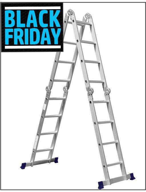 Escada De Alumínio Dobrável 16 Degraus 4x4 AM0116D Pelegrin - Black Friday