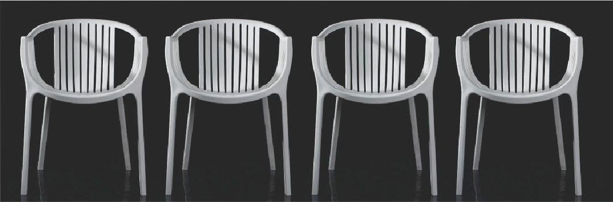 Kit 4 Cadeiras Design Fixa Tatami Pelegrin PEL-1556 Branca