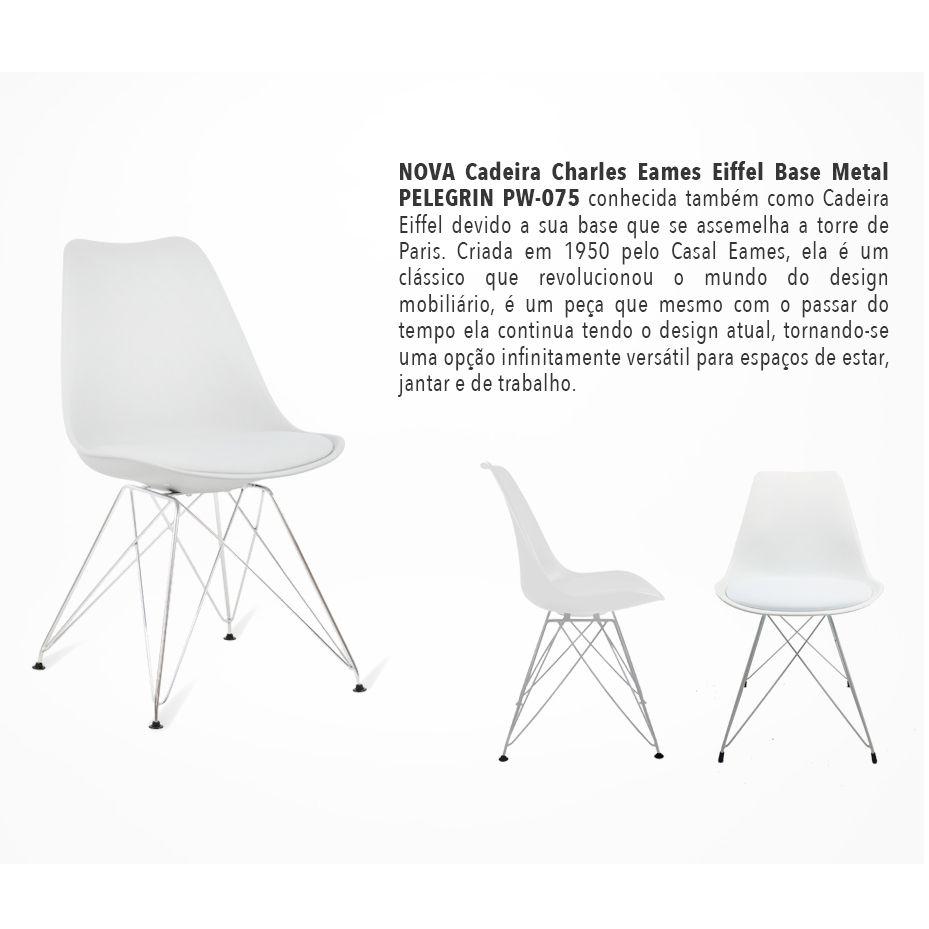 Kit com 2 Cadeiras Charles Eames Eiffel Branca Base Metal Pelegrin Pw-075