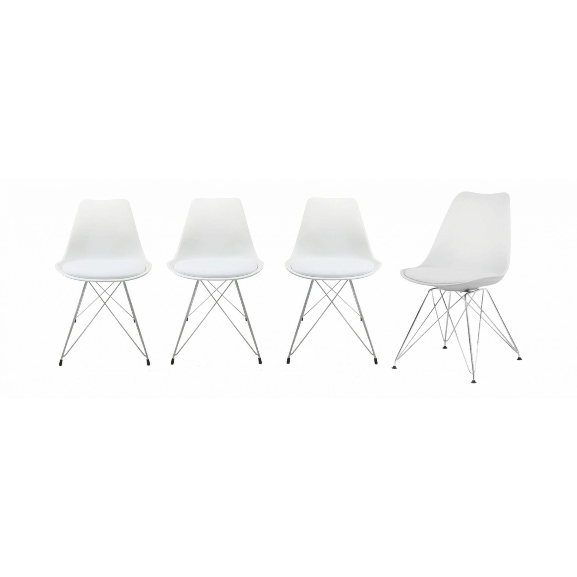 Kit com 4 Cadeiras Charles Eames Eiffel Branca Base Metal Pelegrin Pw-075