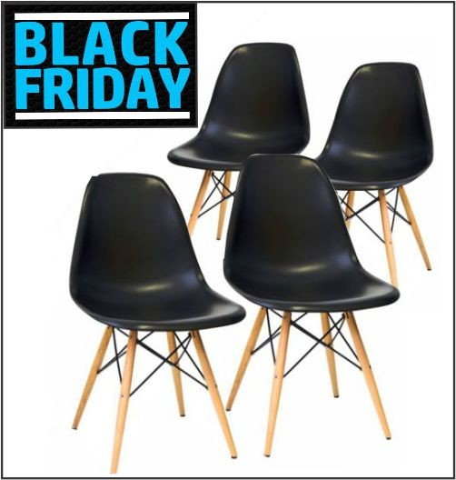 KIT Com 4 Cadeiras em ABS PW-071 Preto com Design Charles Eames Dkr Eiffel - Black Friday