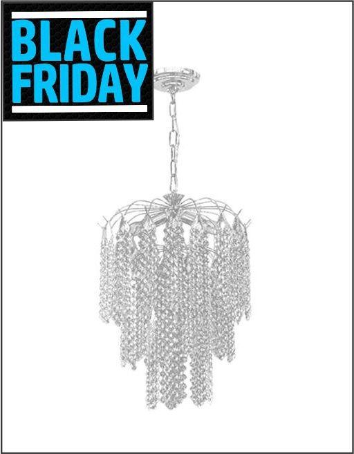 Lustre Brilliant com Base Pendente e Adornos em Acrílico de Alto Brilho - Cor Cristal - Black Friday