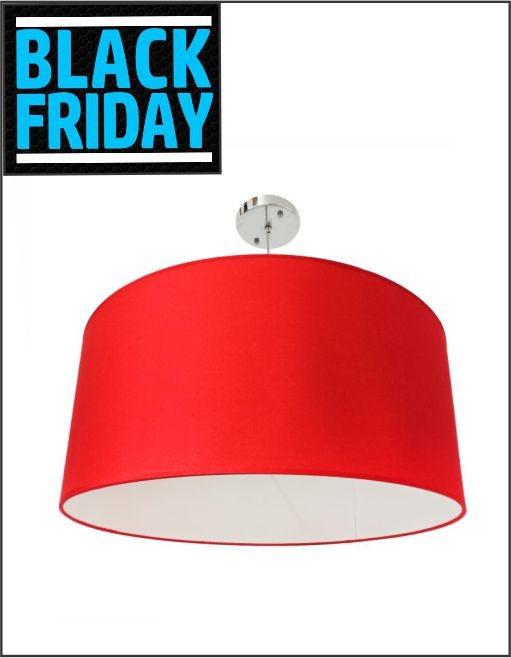Lustre Dome Pelegrin PEL-021 Metal Tecido Vermelho - Black Friday
