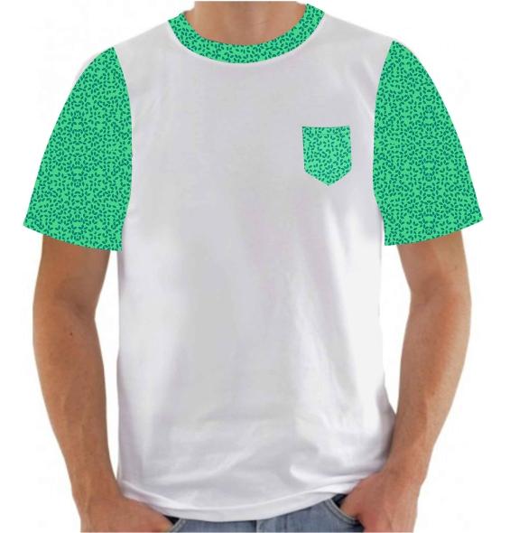 CAMISETA Branca com estampa verde na manga gola e bolso