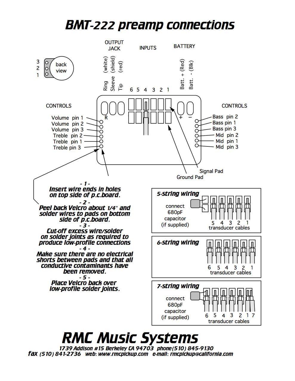 Preamp RMC interno mono BMT-222G p/ Violão, Cavaco,Bandolim, Viola Caipira  - SOLO MUSICAL