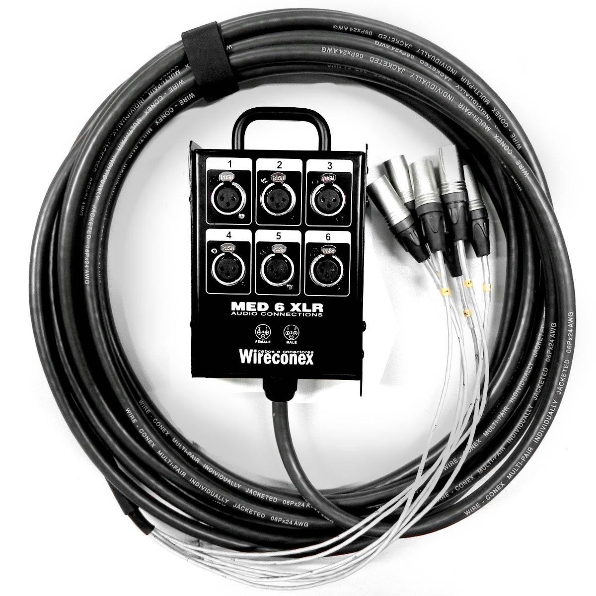 Multicabo Completo 6 Vias XLR ( Balanceado ) c/ Trava 15 Metros - Wireconex