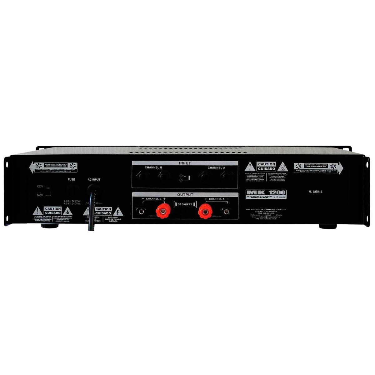MK1200 - Amplificador Estéreo 2 Canais 200W MK 1200 - Mark Audio