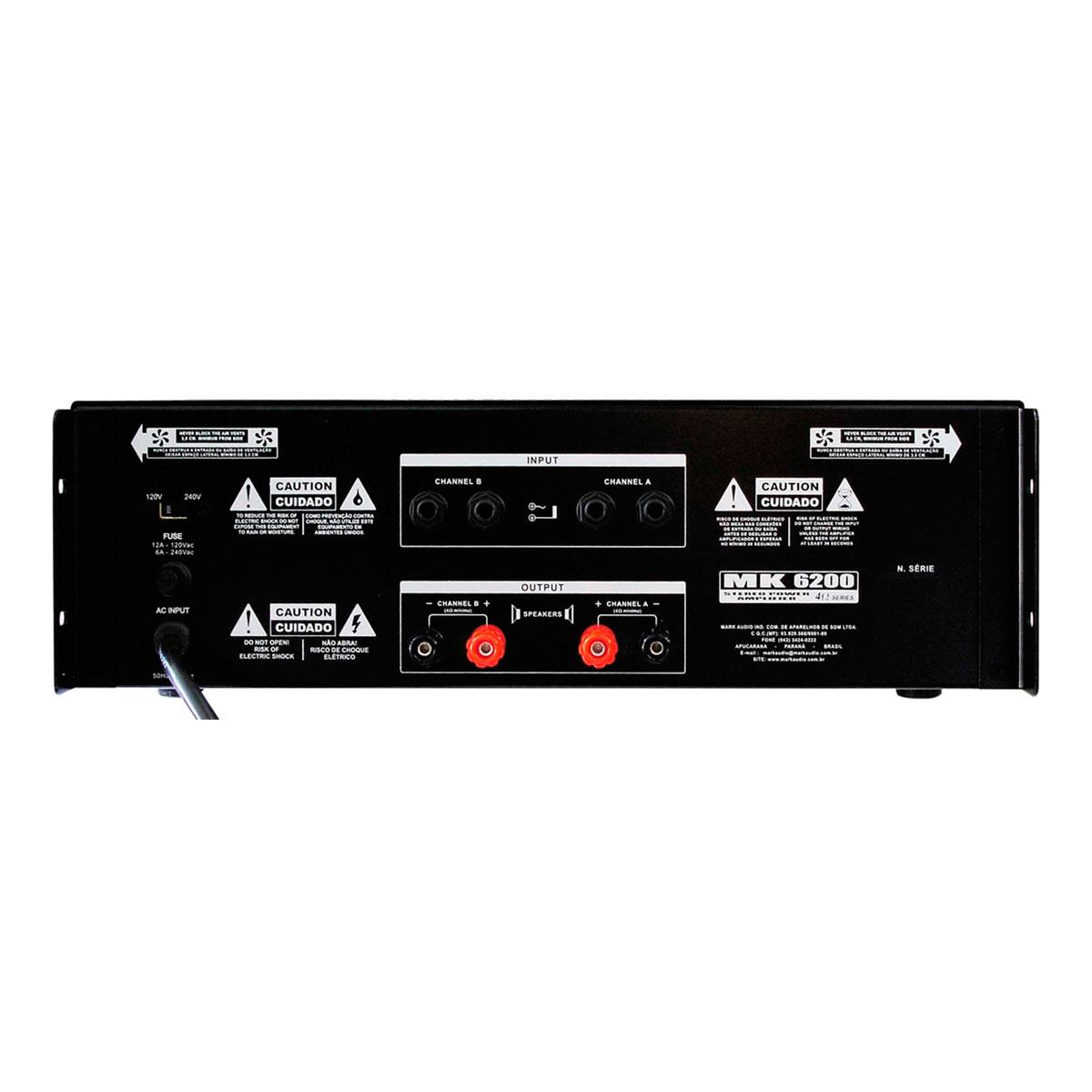 MK6200 - Amplificador Estéreo 2 Canais 1200W MK 6200 - Mark Audio