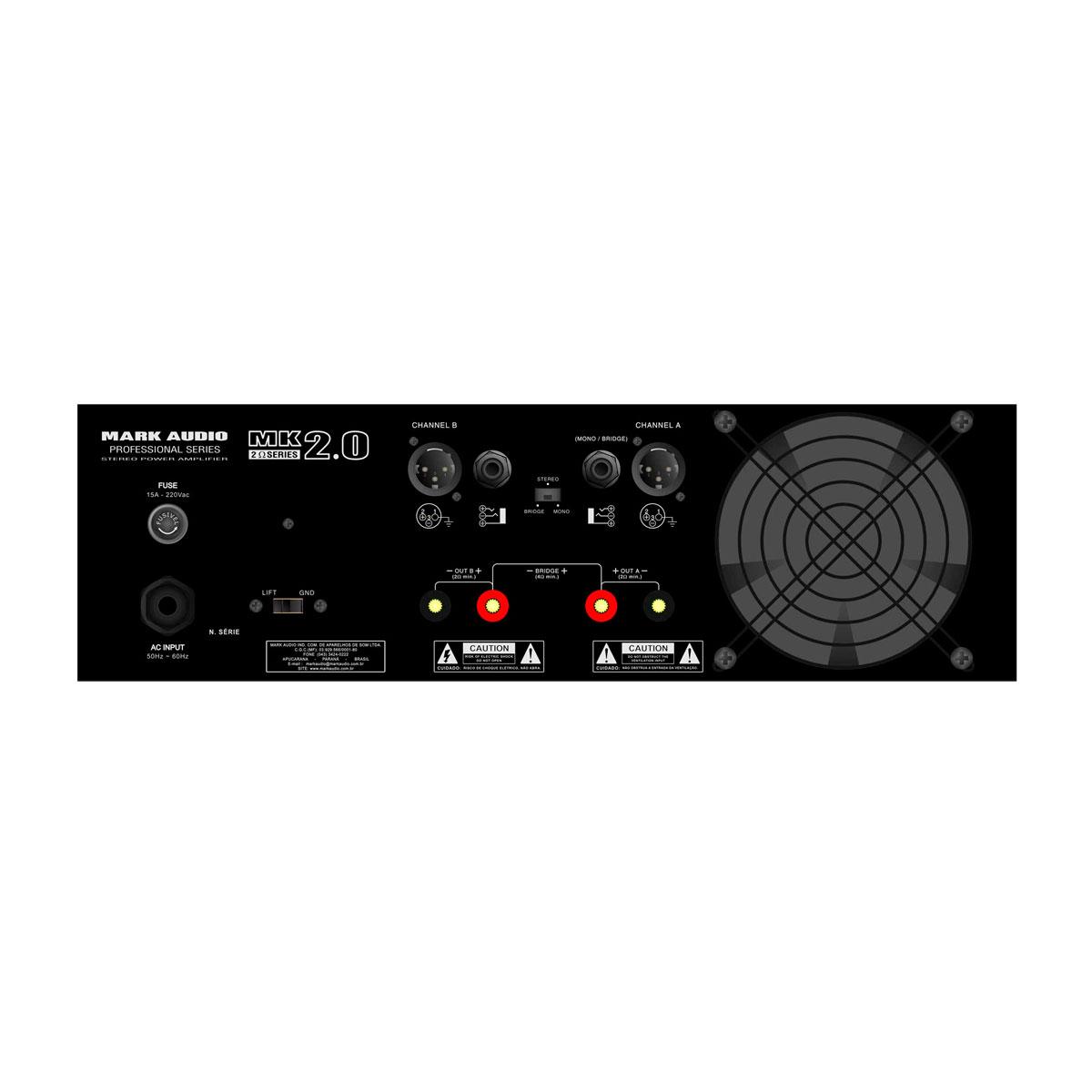 MK2.0 - Amplificador Estéreo 2 Canais 2000W MK 2.0 - Mark Audio